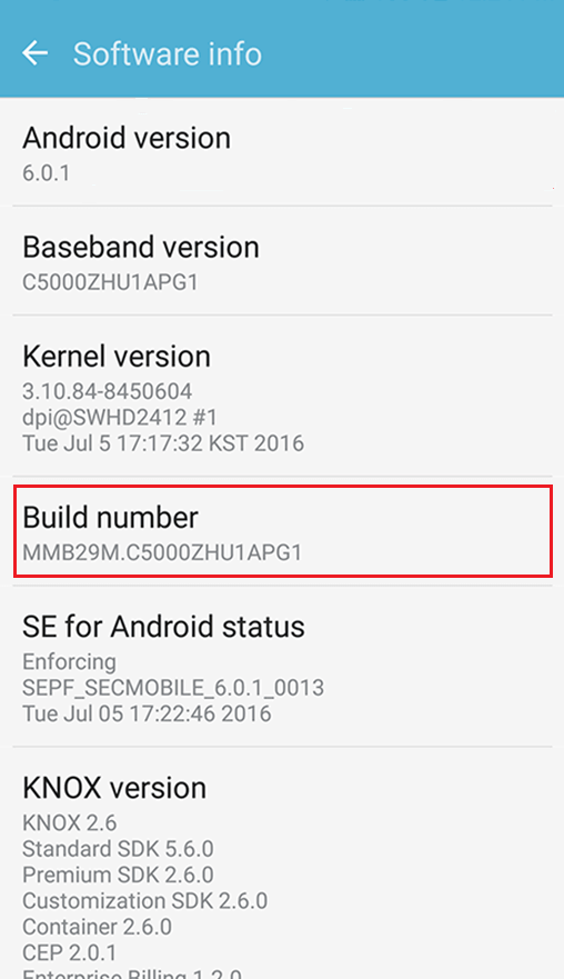 Your Phone's Build Number